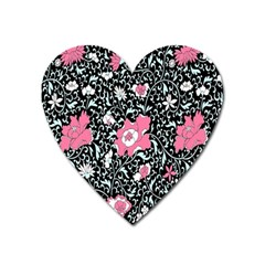 Oriental Style Floral Pattern Background Wallpaper Heart Magnet by BangZart