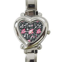 Oriental Style Floral Pattern Background Wallpaper Heart Italian Charm Watch by BangZart