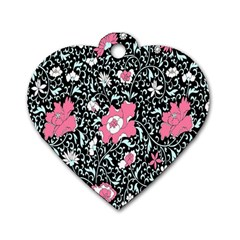 Oriental Style Floral Pattern Background Wallpaper Dog Tag Heart (one Side) by BangZart