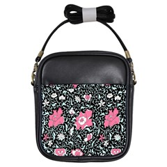 Oriental Style Floral Pattern Background Wallpaper Girls Sling Bags by BangZart