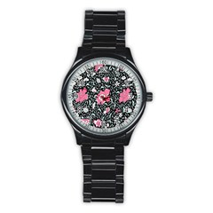 Oriental Style Floral Pattern Background Wallpaper Stainless Steel Round Watch by BangZart