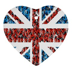 Fun And Unique Illustration Of The Uk Union Jack Flag Made Up Of Cartoon Ladybugs Heart Ornament (two Sides) by BangZart