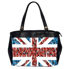 Fun And Unique Illustration Of The Uk Union Jack Flag Made Up Of Cartoon Ladybugs Office Handbags (2 Sides)  by BangZart