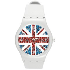 Fun And Unique Illustration Of The Uk Union Jack Flag Made Up Of Cartoon Ladybugs Round Plastic Sport Watch (m) by BangZart