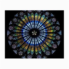Stained Glass Rose Window In France s Strasbourg Cathedral Small Glasses Cloth by BangZart