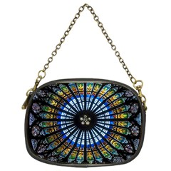 Stained Glass Rose Window In France s Strasbourg Cathedral Chain Purses (two Sides)  by BangZart