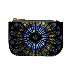 Stained Glass Rose Window In France s Strasbourg Cathedral Mini Coin Purses by BangZart