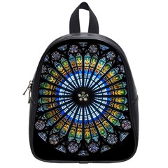 Stained Glass Rose Window In France s Strasbourg Cathedral School Bags (small)  by BangZart