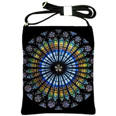 Stained Glass Rose Window In France s Strasbourg Cathedral Shoulder Sling Bags by BangZart
