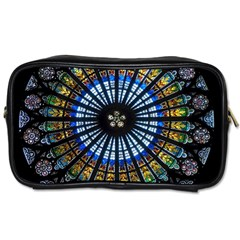 Stained Glass Rose Window In France s Strasbourg Cathedral Toiletries Bags 2 Side by BangZart