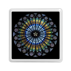 Stained Glass Rose Window In France s Strasbourg Cathedral Memory Card Reader (square)