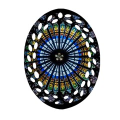 Stained Glass Rose Window In France s Strasbourg Cathedral Oval Filigree Ornament (two Sides) by BangZart
