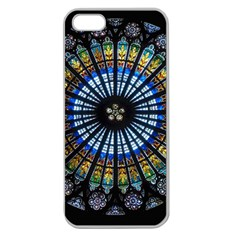 Stained Glass Rose Window In France s Strasbourg Cathedral Apple Seamless Iphone 5 Case (clear) by BangZart