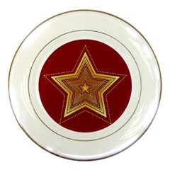 Christmas Star Seamless Pattern Porcelain Plates by BangZart