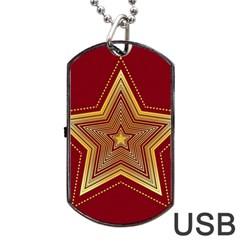 Christmas Star Seamless Pattern Dog Tag Usb Flash (one Side) by BangZart