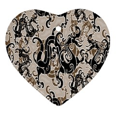 Dragon Pattern Background Heart Ornament (two Sides) by BangZart