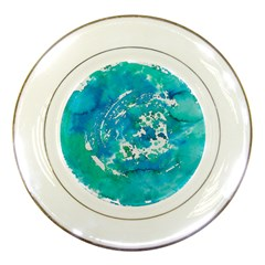 Blue Watercolors Circle                          Porcelain Plate by LalyLauraFLM