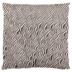 Zebra Pattern Animal Print Large Flano Cushion Case (one Side) by paulaoliveiradesign