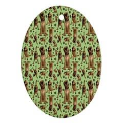 Puppy Dog Pattern Ornament (oval) by BangZart