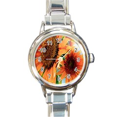 Sunflower Art  Artistic Effect Background Round Italian Charm Watch by BangZart