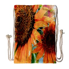 Sunflower Art  Artistic Effect Background Drawstring Bag (large) by BangZart