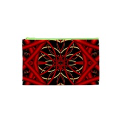 Fractal Wallpaper With Red Tangled Wires Cosmetic Bag (xs) by BangZart