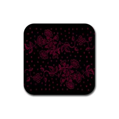 Pink Floral Pattern Background Wallpaper Rubber Square Coaster (4 Pack)  by BangZart