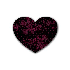 Pink Floral Pattern Background Wallpaper Rubber Coaster (heart)  by BangZart
