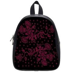 Pink Floral Pattern Background Wallpaper School Bags (small)  by BangZart