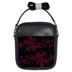 Pink Floral Pattern Background Wallpaper Girls Sling Bags by BangZart