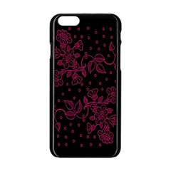 Pink Floral Pattern Background Wallpaper Apple Iphone 6/6s Black Enamel Case by BangZart