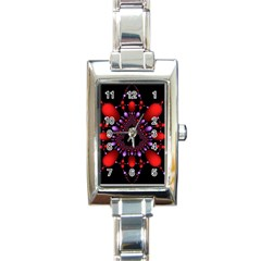 Fractal Red Violet Symmetric Spheres On Black Rectangle Italian Charm Watch by BangZart