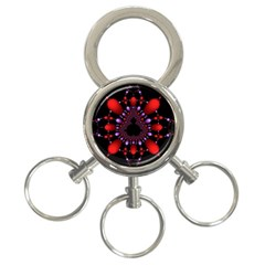 Fractal Red Violet Symmetric Spheres On Black 3 Ring Key Chains by BangZart
