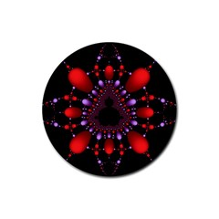 Fractal Red Violet Symmetric Spheres On Black Rubber Round Coaster (4 Pack)  by BangZart