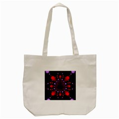 Fractal Red Violet Symmetric Spheres On Black Tote Bag (cream) by BangZart