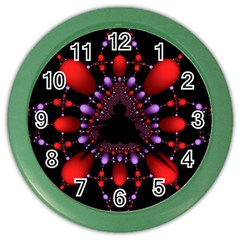 Fractal Red Violet Symmetric Spheres On Black Color Wall Clocks by BangZart