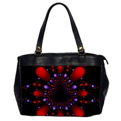 Fractal Red Violet Symmetric Spheres On Black Office Handbags by BangZart