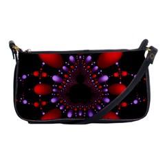 Fractal Red Violet Symmetric Spheres On Black Shoulder Clutch Bags by BangZart