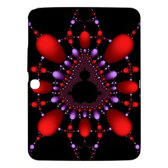 Fractal Red Violet Symmetric Spheres On Black Samsung Galaxy Tab 3 (10 1 ) P5200 Hardshell Case  by BangZart