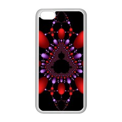 Fractal Red Violet Symmetric Spheres On Black Apple Iphone 5c Seamless Case (white) by BangZart