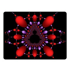 Fractal Red Violet Symmetric Spheres On Black Double Sided Fleece Blanket (small)  by BangZart