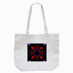 Fractal Red Violet Symmetric Spheres On Black Tote Bag (white) by BangZart