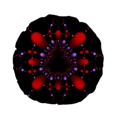 Fractal Red Violet Symmetric Spheres On Black Standard 15  Premium Flano Round Cushions by BangZart