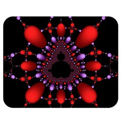 Fractal Red Violet Symmetric Spheres On Black Double Sided Flano Blanket (medium)  by BangZart
