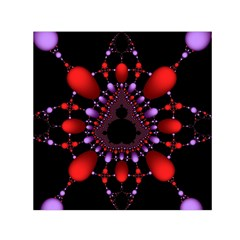 Fractal Red Violet Symmetric Spheres On Black Small Satin Scarf (square) by BangZart