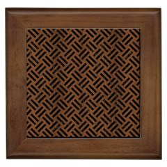 Woven2 Black Marble & Brown Wood (r) Framed Tile by trendistuff