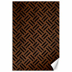 Woven2 Black Marble & Brown Wood (r) Canvas 20  X 30  by trendistuff
