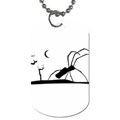 Dark Scene Silhouette Style Graphic Illustration Dog Tag (two Sides) by dflcprints