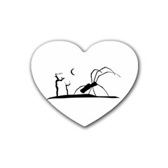 Dark Scene Silhouette Style Graphic Illustration Rubber Coaster (heart)  by dflcprints