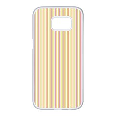 Stripes Pink And Green  Line Pattern Samsung Galaxy S7 Edge White Seamless Case by paulaoliveiradesign